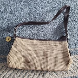 Tan & Brown Straw Crochet Floral The Sak Handbag